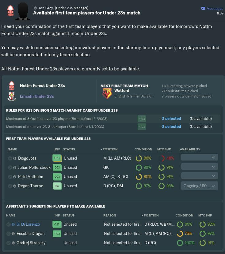 u23 player selection Football Manager