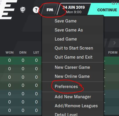 Preferences in FM20 menu