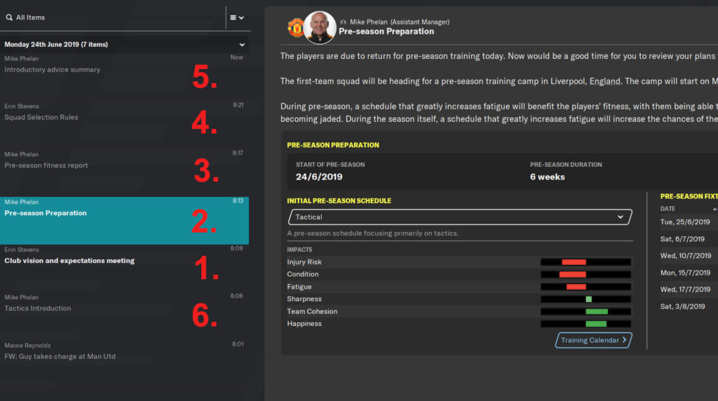 Day 1 Football Manager tasks