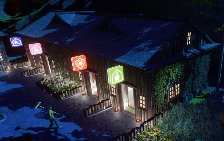 Staff buildings with scenery items in Planet Zoo