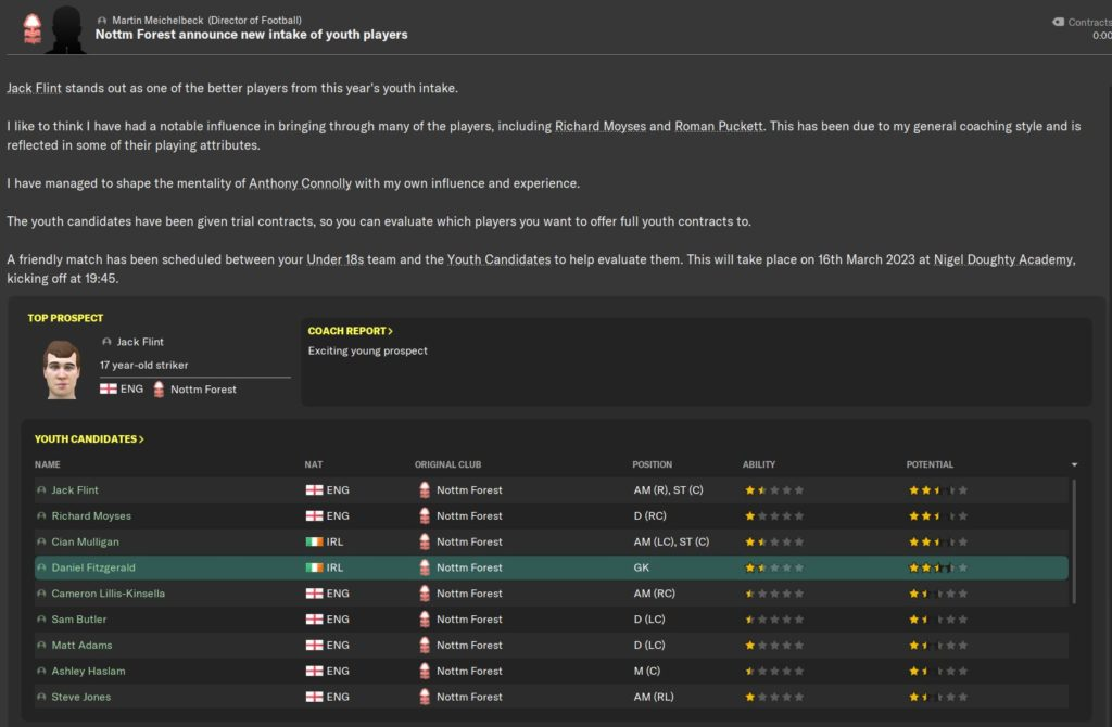 Youth Intake Day Football Manager