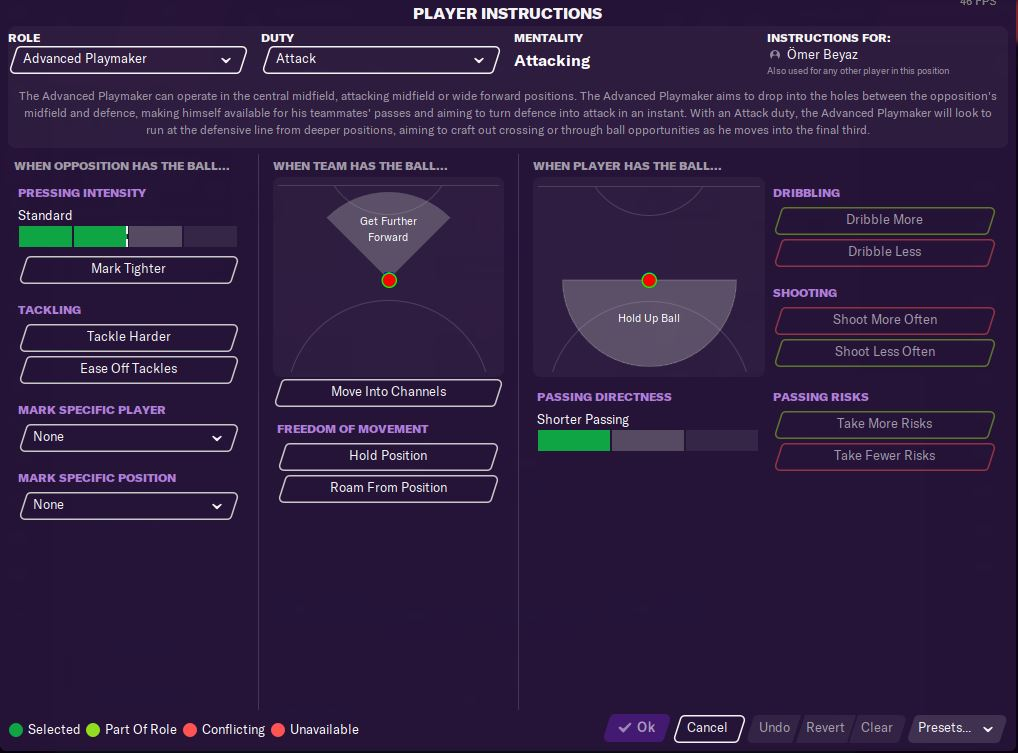 Player roles Football Manager