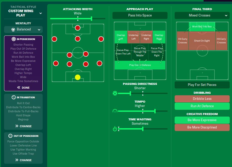 Team instructions Football Manager